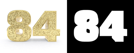 Golden number eighty four (number 84) on white background with drop shadow and alpha channel. 3D illustration.