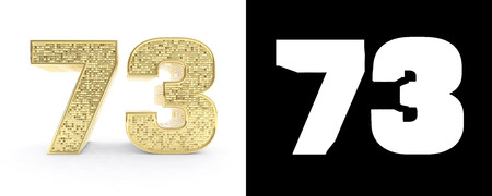 Golden number seventy three (number 73) on white background with drop shadow and alpha channel. 3D illustration.