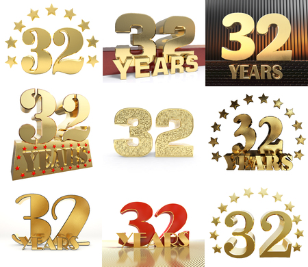 Set of number thirty two year (32 year) celebration design. Anniversary golden number template elements for your birthday party. 3D illustration.