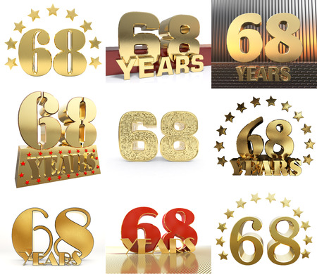 Set of number sixty eight year (68 year) celebration design. Anniversary golden number template elements for your birthday party. 3D illustration.