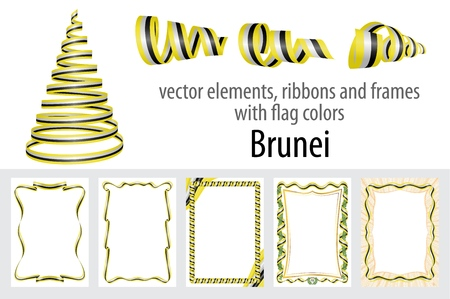 vector elements, ribbons and frames with flag colors Brunei, template for your certificate and diploma.