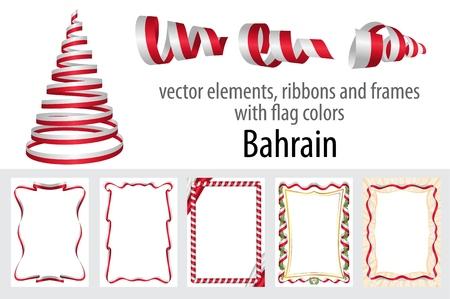 elementi vettoriali, nastri e cornici con i colori della bandiera Bahrain, modello per il certificato e il diploma.