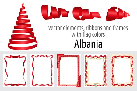 vector elements, ribbons and frames with flag colors Albania, template for your certificate and diploma.