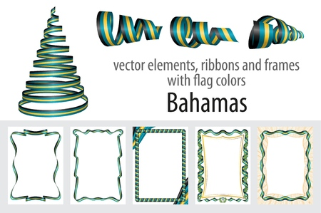 vector elements, ribbons and frames with flag colors Bahamas, template for your certificate and diploma.