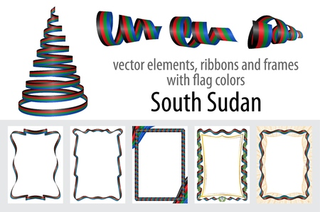 vector elements, ribbons and frames with flag colors South Sudan, template for your certificate and diploma.