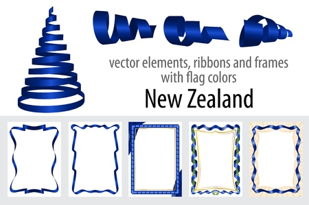 vector elements, ribbons and frames with flag colors New Zealand, template for your certificate and diploma.