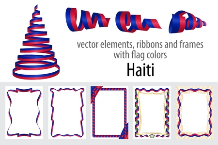 vector elements, ribbons and frames with flag colors Haiti, template for your certificate and diploma.