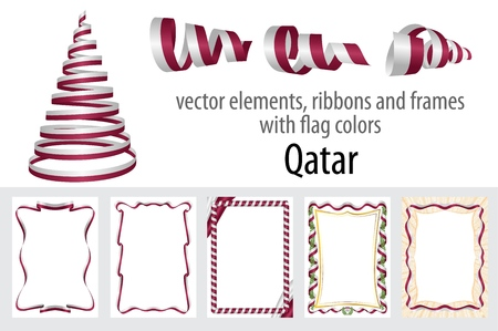vector elements, ribbons and frames with flag colors Qatar, template for your certificate and diploma.