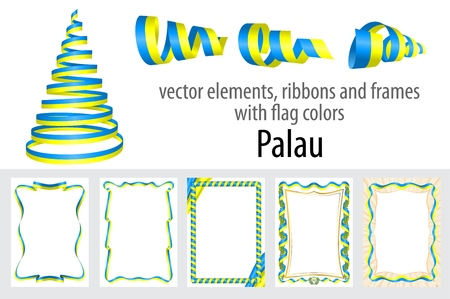 vector elements, ribbons and frames with flag colors Palau, template for your certificate and diploma.