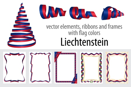 vector elements, ribbons and frames with flag colors Liechtenstein, template for your certificate and diploma.