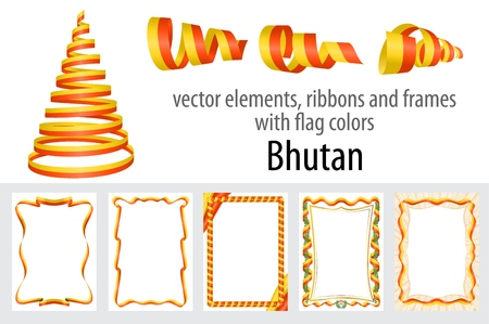 vector elements, ribbons and frames with flag colors Bhutan, template for your certificate and diploma. Illustration
