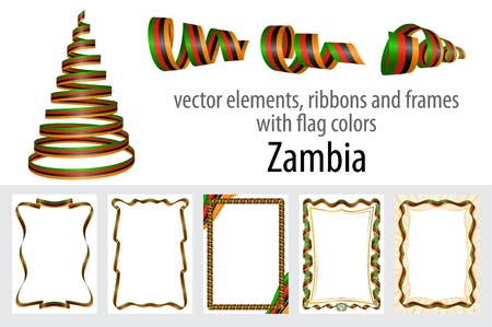 vector elements, ribbons and frames with flag colors Zambia, template for your certificate and diploma.