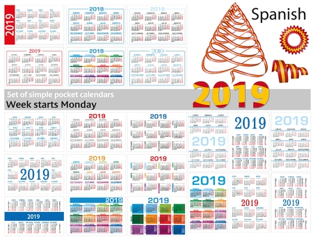 Set of simple pocket calendars for 2019 (Two thousand nineteen). Week starts Monday. Translation from Spanish - january, february, march, april, may, june, july, august, september, october, november, december. Иллюстрация