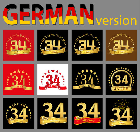 Set of number thirty-four (34 years) celebration design. Anniversary golden number template elements for your birthday party. Translated from the German - congratulation, years, anniversary
