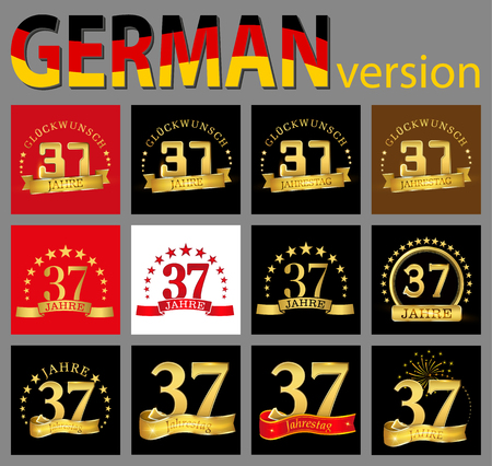 Set of number thirty-seven (37 years) celebration design. Anniversary golden number template elements for your birthday party. Translated from the German - congratulation, years, anniversary Ilustração