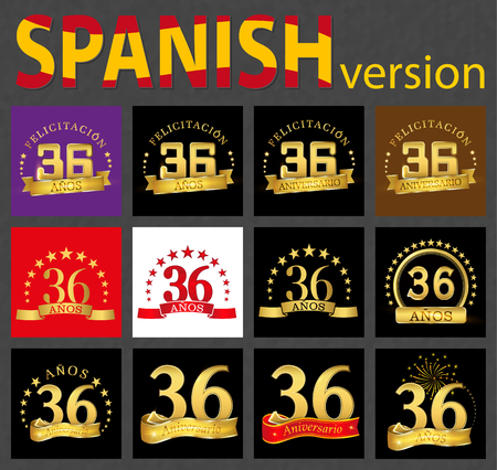 Set of number thirty-six (36 years) celebration design. Anniversary golden number template elements for your birthday party. Translated from the Spanish - congratulation, years, anniversary