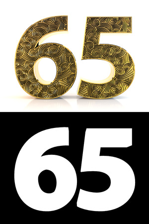 Golden number sixty-five (65 years) on white background with pattern style , drop shadow and alpha channel. 3D illustration.