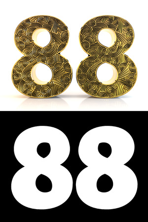 Golden number eighty-eight (88 years) on white background with pattern style , drop shadow and alpha channel. 3D illustration.