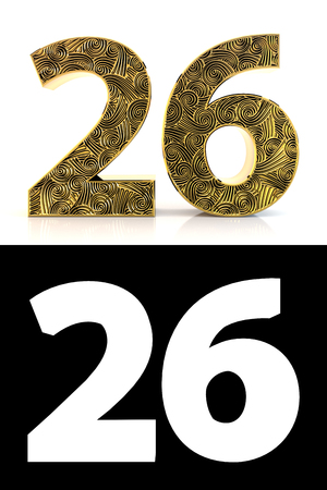 Golden number twenty-six (26 years) on white background with pattern style , drop shadow and alpha channel. 3D illustration.