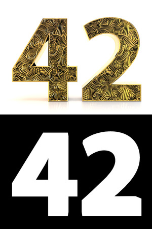 Golden number forty-two (42 years) on white background with pattern style , drop shadow and alpha channel. 3D illustration.