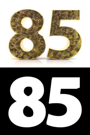 Golden number eighty-five (85 years) on white background with pattern style , drop shadow and alpha channel. 3D illustration.