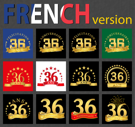 Set of number 36 (thirty-six years) celebration design. Anniversary golden number template elements for your birthday party. Translated from the French - congratulation, years, anniversary 向量圖像