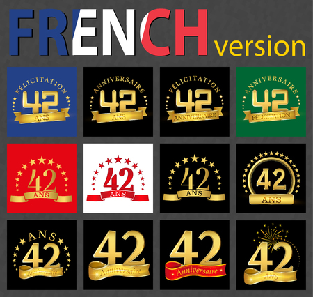 Set of number 42 (forty-two years) celebration design. Anniversary golden number template elements for your birthday party. Translated from the French - congratulation, years, anniversary