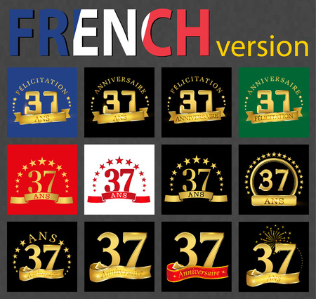 Set of number 37 (thirty-seven years) celebration design. Anniversary golden number template elements for your birthday party. Translated from the French - congratulation, years, anniversary Ilustração