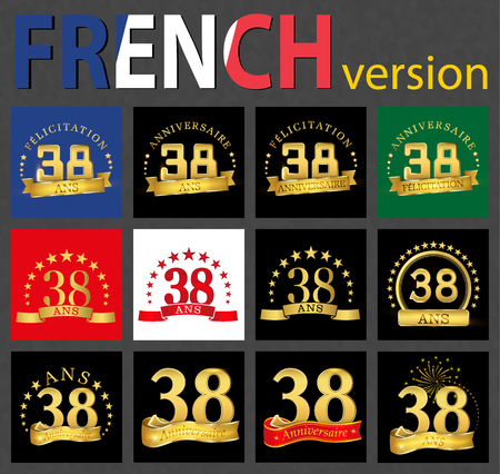 Set of number 38 (thirty-eight years) celebration design. Anniversary golden number template elements for your birthday party. Translated from the French - congratulation, years, anniversary