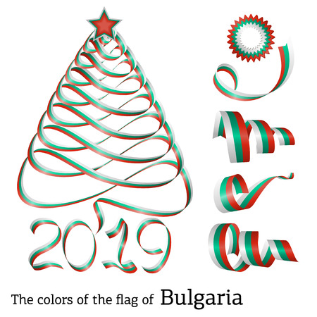 Ribbon in the shape of a Christmas tree with the colors of the flag of Bulgaria 版權商用圖片 - 126844850