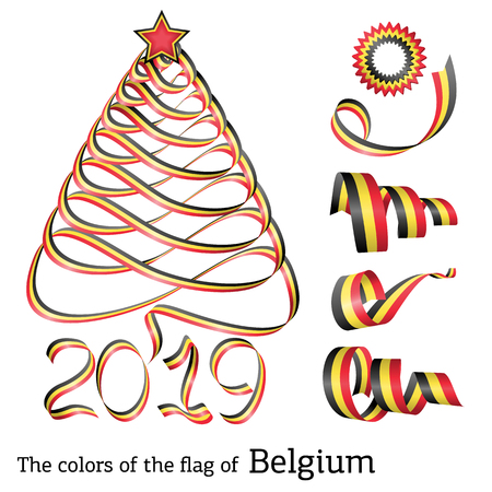 Ribbon in the shape of a Christmas tree with the colors of the flag of Belgium