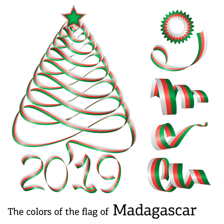 Ribbon in the shape of a Christmas tree with the colors of the flag of Madagascar