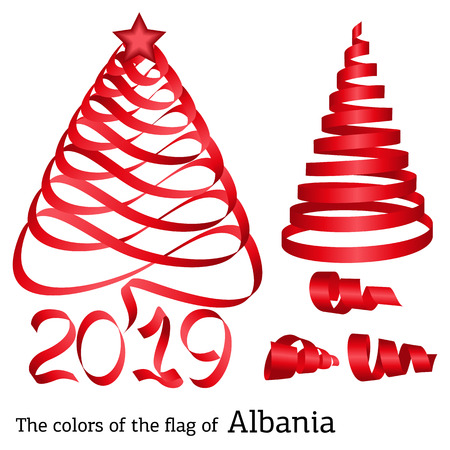 Ribbon in the shape of a Christmas tree with the colors of the flag of Albania