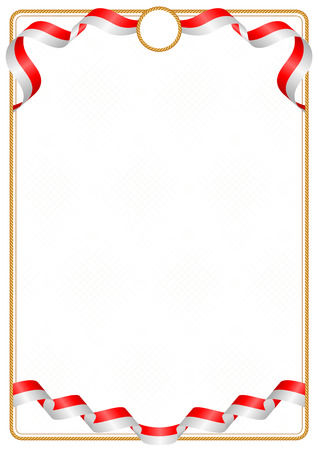 Frame and border of ribbon with the colors of the Indonesia flag, template elements for your certificate and diploma