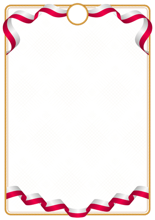Frame and border of ribbon with the colors of the Greenland flag, template elements for your certificate and diploma Vectores