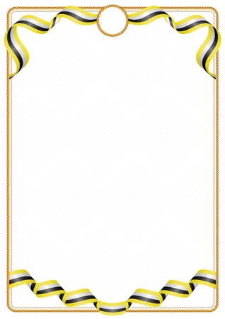 Frame and border of ribbon with the colors of the Brunei flag, template elements for your certificate and diploma