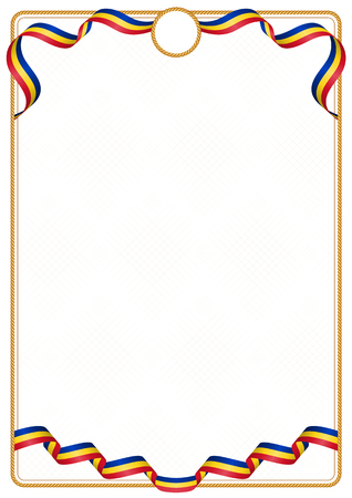 Frame and border of ribbon with the colors of the Romania flag, template elements for your certificate and diploma