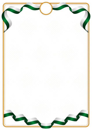 Frame and border of ribbon with the colors of the Pakistan flag, template elements for your certificate and diploma