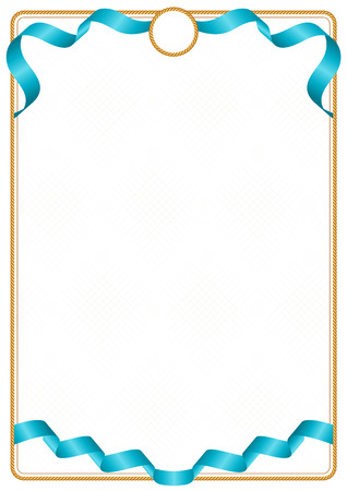 Frame and border of ribbon with the colors of the Kazakhstan flag, template elements for your certificate and diploma