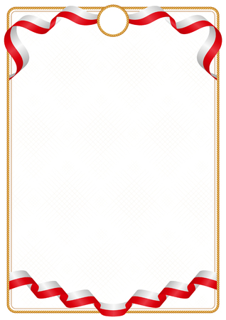 Frame and border of ribbon with the colors of the Gibraltar flag, template elements for your certificate and diploma