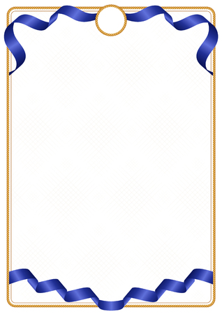 Frame and border of ribbon with the colors of the European Union flag, template elements for your certificate and diploma 矢量图像