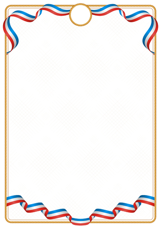 Frame and border of ribbon with the colors of the Crimea flag, template elements for your certificate and diploma