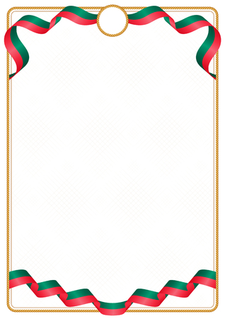 Frame and border of ribbon with the colors of the Bangladesh flag, template elements for your certificate and diploma