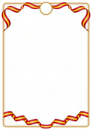 Cadre et bordure de ruban aux couleurs du drapeau espagnol, éléments de modèle pour votre certificat et diplôme