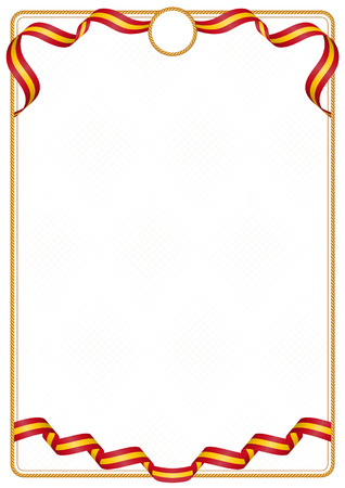Frame and border of ribbon with the colors of the Spain flag, template elements for your certificate and diploma 免版税图像 - 126251135