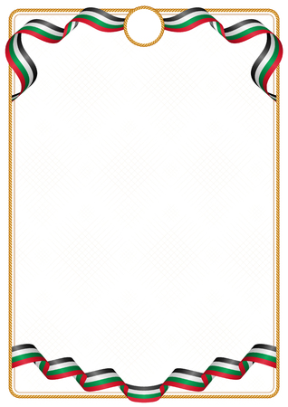 Frame and border of ribbon with the colors of the Palestine flag, template elements for your certificate and diploma