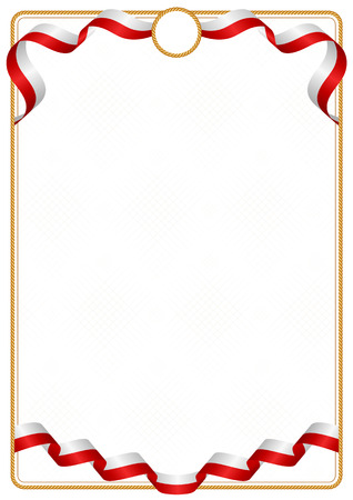 Frame and border of ribbon with the colors of the Tonga flag, template elements for your certificate and diploma