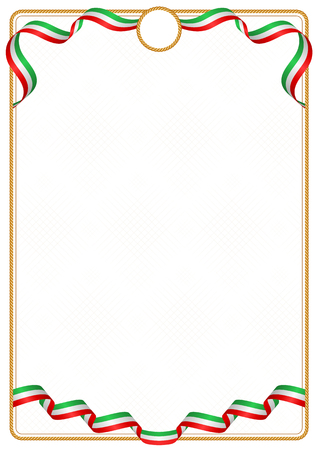 Frame and border of ribbon with the colors of the Iran flag, template elements for your certificate and diploma