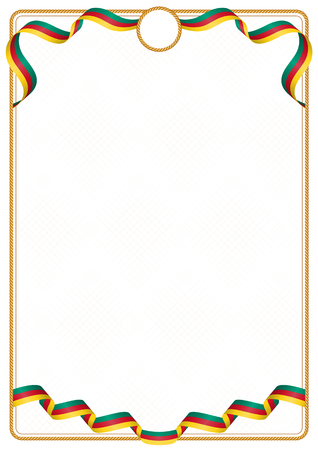 Frame and border of ribbon with the colors of the Cameroon flag, template elements for your certificate and diploma