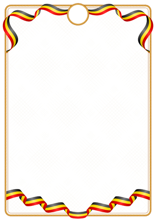 Frame and border of ribbon with the colors of the Uganda flag, template elements for your certificate and diploma Illusztráció